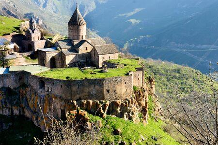 Monastery in mountain village of Tatev in morning, south of Armenia, Syunik region Imagens