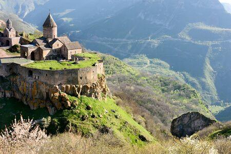 Monastery in mountain village of Tatev in morning, south of Armenia, Syunik region 写真素材