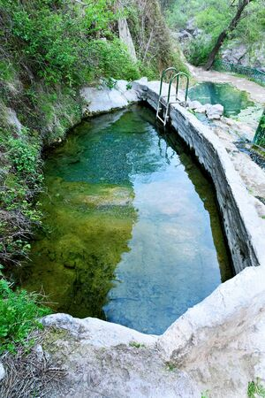 Bath with warm mineral water inVrotan River Gorge, Devils Bridge, Satans Bridge. Armenia
