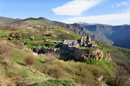 Tatev Monastery and village in mountains of Syunik region of Armenia in morning