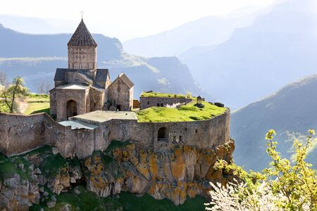 Monastery in mountain village of Tatev in morning, south of Armenia, Syunik region