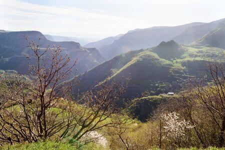 Mountains of Armenian Highlands belong to Lesser Caucasus in spring morning. Syunik region