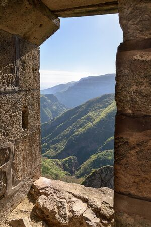 View of mountains from window of ancient monastery room, Yayev, Armenia