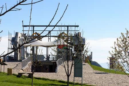 Tatev, Armenia - May,01 2019: Wings of Tatev cable car station in village of Tatev, the longest pendulum passenger ropeway in world, Armena