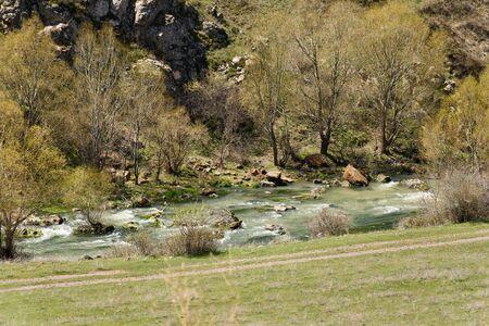 Small mountain river Shaki, south of Armenia