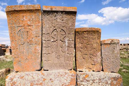 Noratus, Armenia-May, 01 2019: unique lagest cemetery of khachkars, Armenia