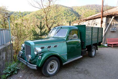 Flatbed truck of old model on Dilijan street, Armenia