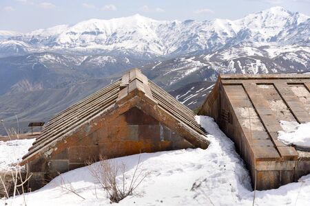 Selim caravanserai littered with snow. Previously provided lodging for caravans loaded with goods. almost 700 years of age