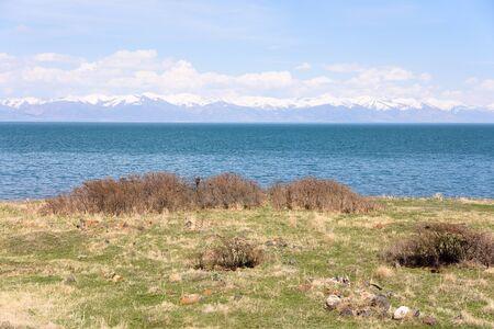 Lake Sevan in the spring. Natural symbol of Armenia 写真素材