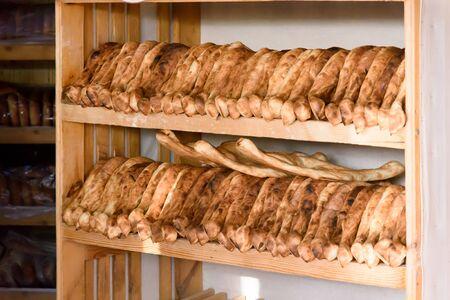 Freshly baked Shotis Puri - traditional Georgian bread. National Georgian cuisine