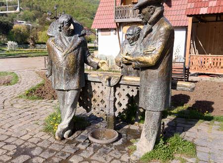 Dilijan, Armenia-May, 02 2019: Monument dedicated to heroes of Soviet film Mimino, Armenia