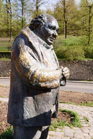 Dilijan, Armenia-May, 02 2019: Evgeny Leonov as Ivan Sergeevich Volokhov, war veteran, in Monument dedicated to hero of Soviet film Mimino, Armenia 報道画像
