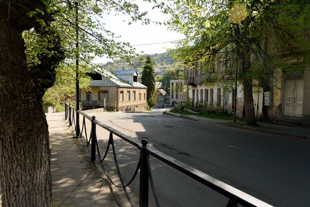 Shady street in Dilijan, small resort town in northeast of Armenia