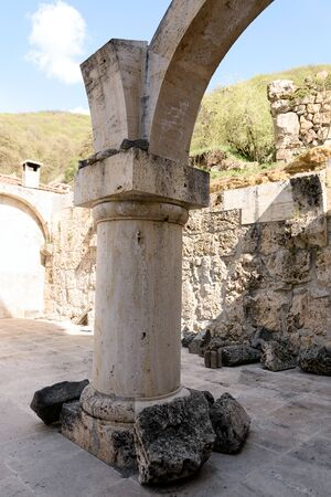 Ruins of narthex Surb Astvatsatsin, Church of Holy Virgin. Ancient Armenian monastery Haghartsin in Tavush region, Armenia 写真素材