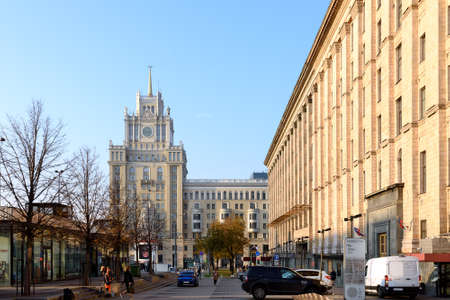 Moscow, Russia - Oct 19, 2018: One of famous Stalinist skyscrapers in Moscow in background. Tverskaya street
