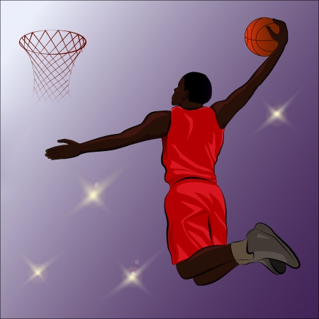 A high jumping player about to slam the basketball through the basketball hoop.  Images placed on separate layers for easy editing.  Illustrator 10 EPS included. Some gradients and  transparencies were used.   Illustration
