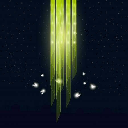 Glowworms volent autour des silhouettes de lampes de maisons sont en arrière-plan Banque d'images - 24096258