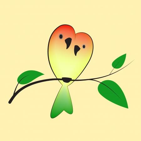 lovebirds: А pair of lovebirds resting on a branch  EPS 10 file