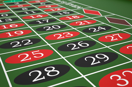 Roulette table in a casino. High resolution 3D render.
