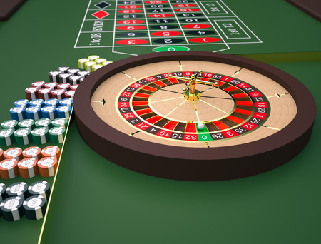 roulette table: Roulette table in a casino. High resolution 3D render.