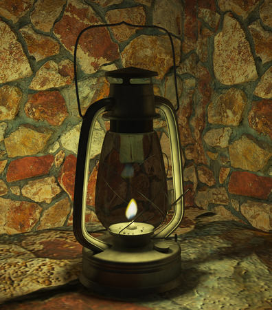 oil lamp: oil lamp bat illuminates the stone cave dim light