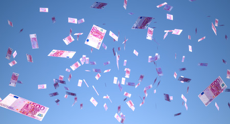earning: a lot of money falling from the sky. Denomination banknotes 500 euros
