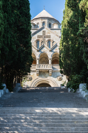 divinity: Armenian Church of St. Ripsime stands on a high hill in Yalta. To get to the church have to climb a very long ladder. Approaching the church you can see, you can see the divinity of this architecture