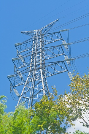 The electricity pylon and blue sky in sunny day photo