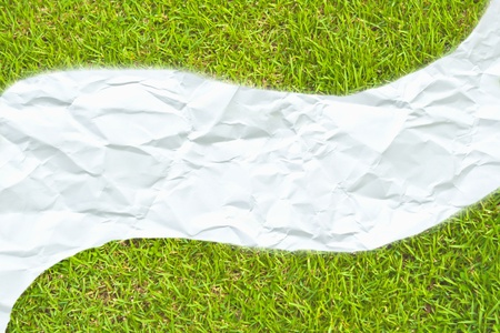 The white crumpled paper on green grass meadow photo
