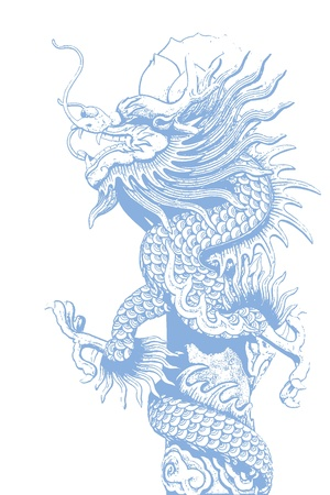 image of blue dragon statue on white background photo