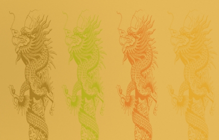 grunge image of  dragon statue on orange background photo