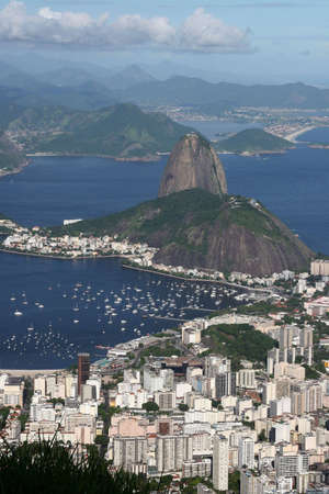 place of interest: Rio de Janeiro Cityscape (including Sugarloaf Mountain), Brazil Stock Photo