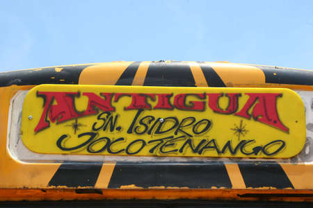 antigua: Artistic painted Bus Sign in Antigua, Guatemala