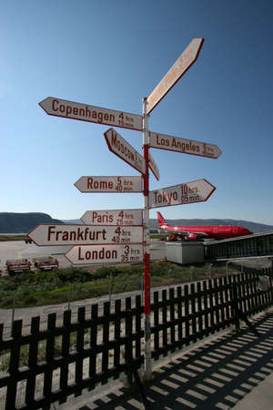 greenland: Sign post showing the distance to the rest of the World, Kangerlussuaq Airport, Greenland