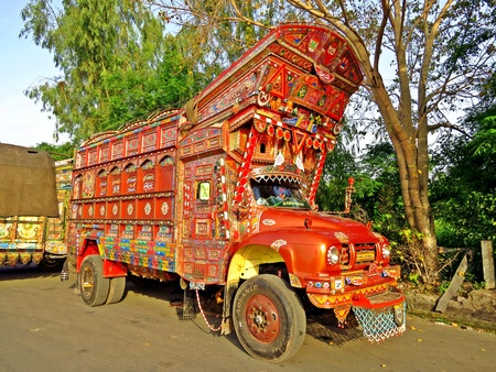 Truck art is a popular form of regional decoration in South Asia, with Pakistani and Indian trucks featuring elaborate floral patterns and calligraphy.