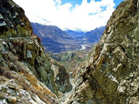Prestine Hunza valley in the extreme northern part of Pakistan is a hidden gem in the Karakoram Mountains. In March and April apricot and cherry trees blossom all over the valley. Once isolated it can be reached by Karakoram Highway nowadays.