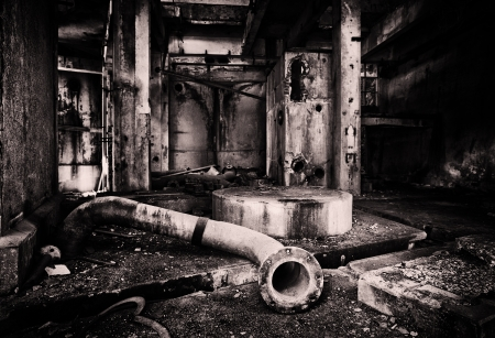 sinister: Abandoned industrial building  Stock Photo