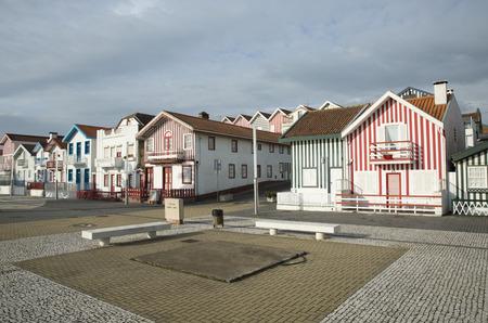 nova: Typical houses of Costa Nova, Aveiro, Portugal.