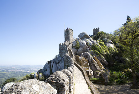 moors: View of the Moors Castle from Palacio da Pena in Sintra, near Lisbon in Portugal. Editorial