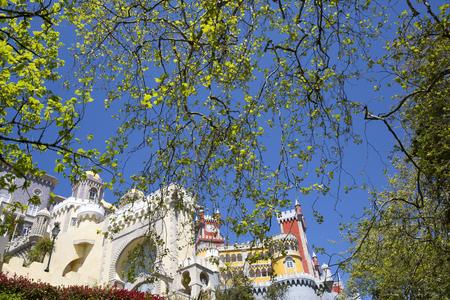 the pena national palace: Pena National Palace (Palacio Nacional da Pena) - Romanticist palace in Sao Pedro de Penaferrim. Sintra, Portugal. Palace is a UNESCO World Heritage Site and one of Seven Wonders of Portugal. Editorial