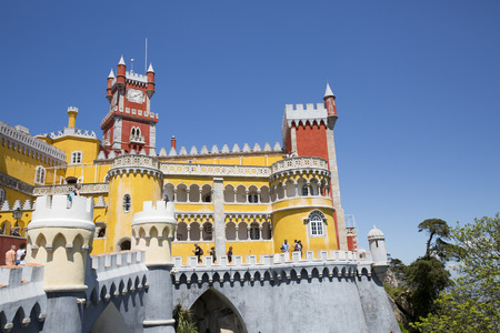 Pena National Palace (Palacio Nacional da Pena) - Romanticist palace in Sao Pedro de Penaferrim. Sintra, Portugal. Palace is a UNESCO World Heritage Site and one of Seven Wonders of Portugal. Editorial