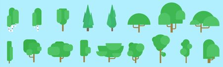Flat Vector Collection of summer trees illustrations.