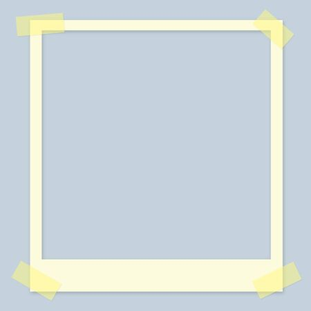 White Square Photo Frame With Adhesive Tape Banque d'images - 143497254