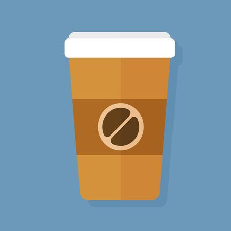 Vector flat illustration coffee cup icon. Coffee cup logo Illustration