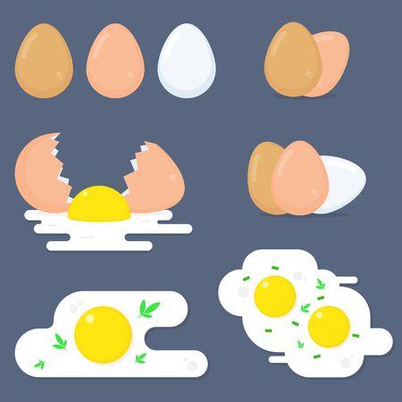 Egg vector food eggwhite or yolk in egg-cup or omelette illustration set of eggshell or egg shaped ingredients isolated on blue background