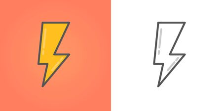 Lightning flat icons color or black and white