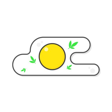 Fried egg icon with flat color style isolated.