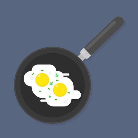 Breakfast Fried egg in a frying pan in flat style
