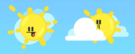 White cloud and yellow sun with smiling face. Fluffy clouds.