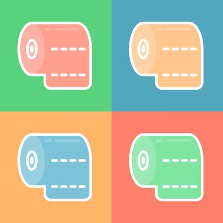 Toilet paper roll icon isolated on background. Set icons colorful. Vector Illustration